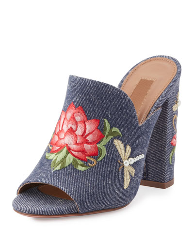 Lotus Embroidered Denim Mule Sandal, Blue