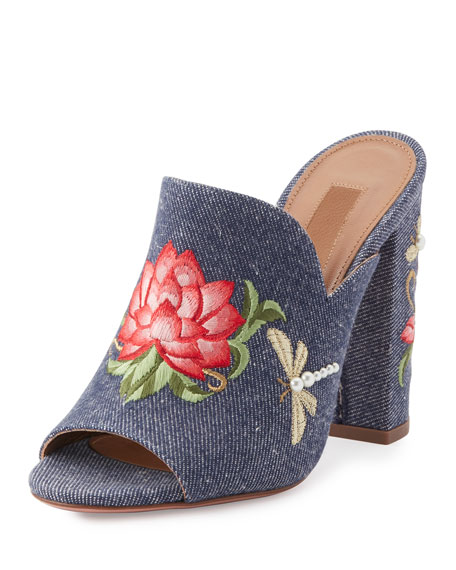 Lotus Embroidered Denim Mule Sandal, Blue