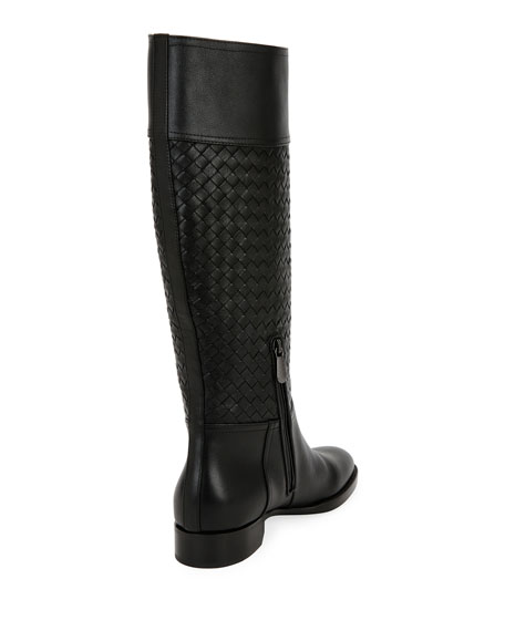 Tall Leather Riding Boot, Black