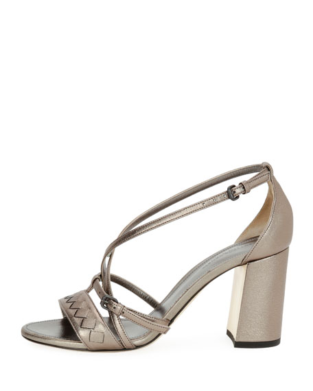 Strappy Leather Block-Heel Sandal, Silver