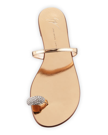 Crystal-Embellished Flat Toe-Ring Sandal, Gold