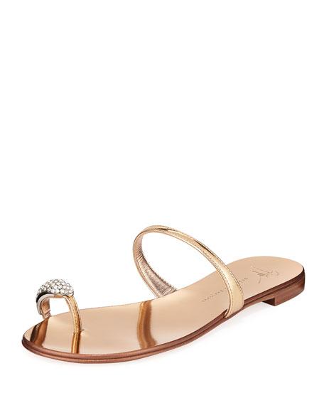 Crystal-Embellished Flat Toe-Ring Sandal, Gold