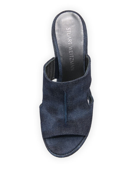 Ponte Cutout Wedge Slide Sandal, Navy