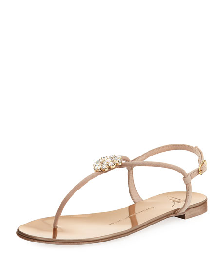 Giuseppe Zanotti Crystal-Embellished Flat Thong Sandal, Blush