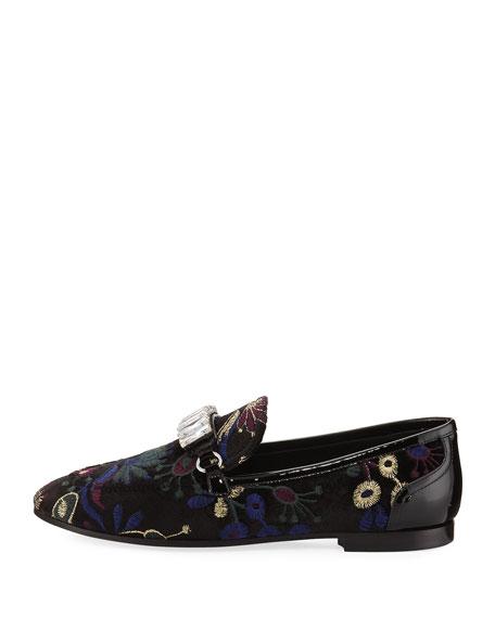 Embroidered Jacquard Velvet Loafer, Black Pattern