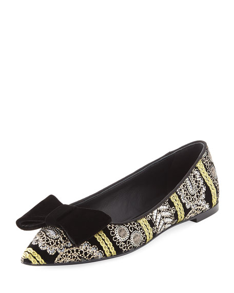 Giuseppe Zanotti Embroidered Velvet Point-Toe Flat, Multi
