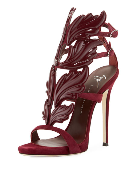 Giuseppe Zanotti Coline Wings Suede Sandal, Burgundy