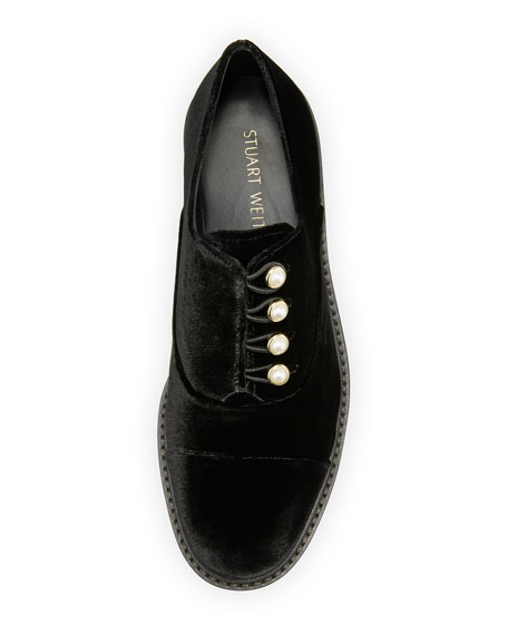 Mrs. Pats Pearlescent Velvet Oxford, Black