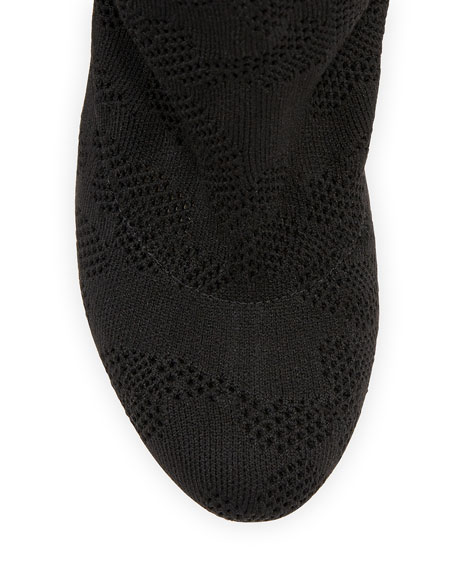 Perforated Stretch-Fabric Tall Boot, Black