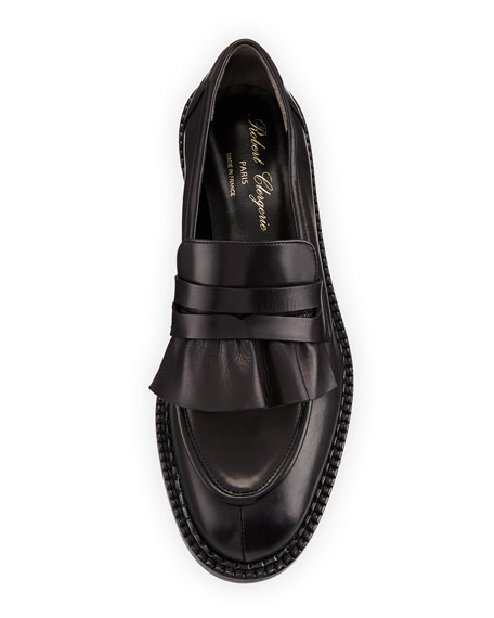 Joux Ruffled Leather Penny Loafer
