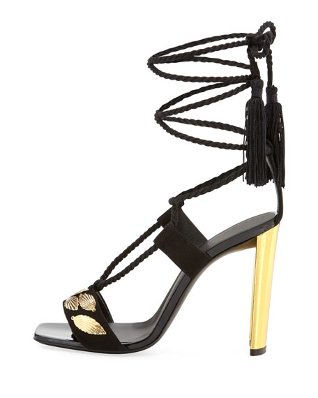 Braided Ankle-Wrap Metallic-Heel Sandal
