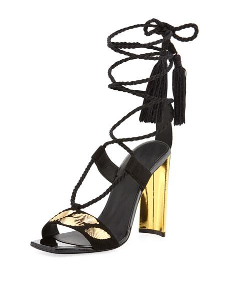 Giuseppe Zanotti Braided Ankle-Wrap Metallic-Heel Sandal