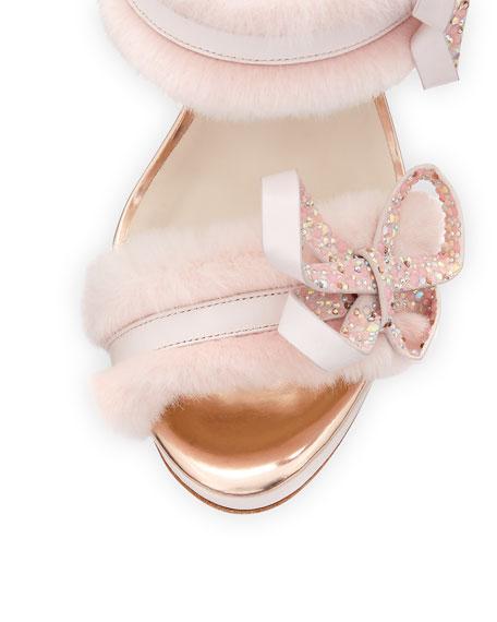 Faux-Fur Ankle-Wrap Sandals, Pink