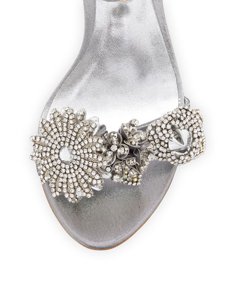 Beaded Lamé Ankle-Wrap Sandal, Silver