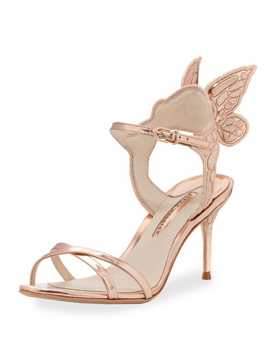 Metallic Leather Butterfly-Wing Sandal, Pink