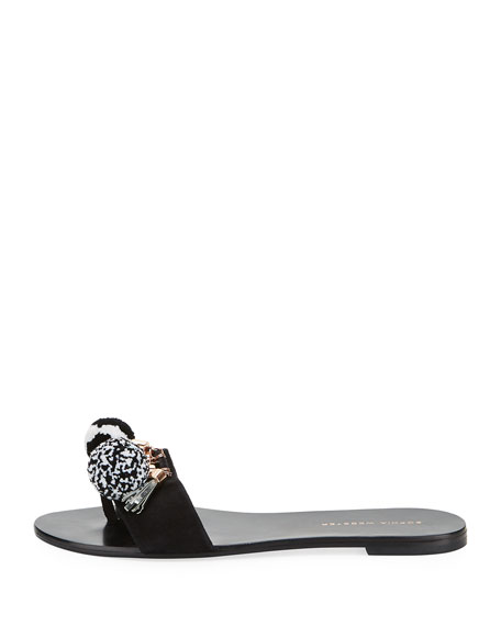 Jada One-Band Pompom Flat Slide Sandals, Black