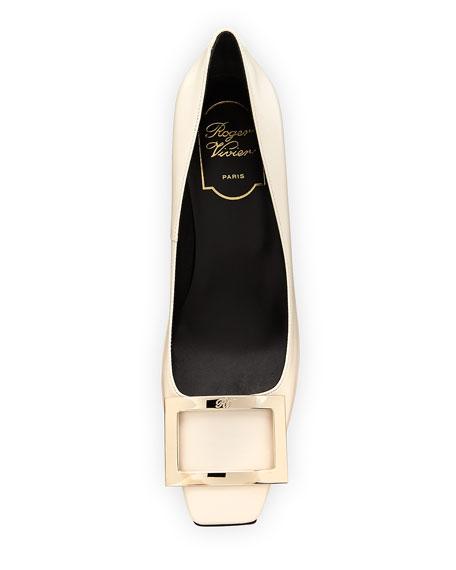 Belle Vivier Trompette Leather 70mm Pumps, Off White