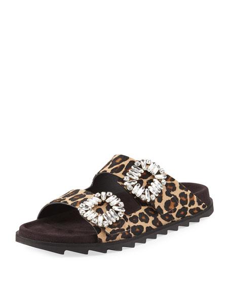 Slidy Viv Strass Buckle Slide Sandal, Leopard