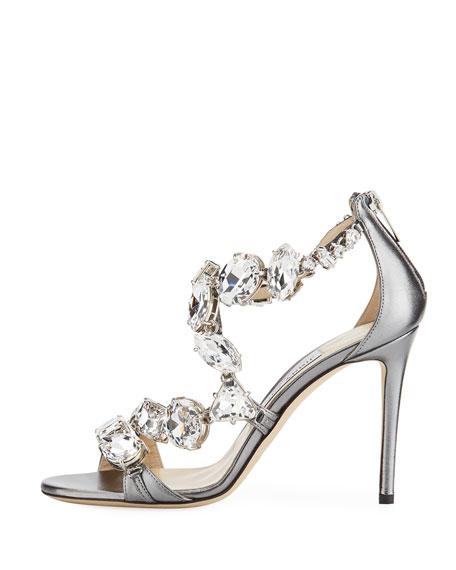 Karima Crystal 100mm Sandal, Gray