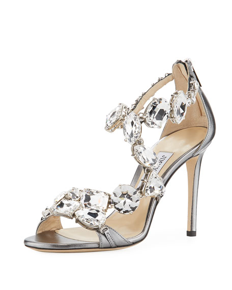 Jimmy Choo Karima Crystal 100mm Sandal, Gray