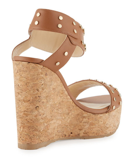 Nelly Studded Cork Wedge Sandals, Brown