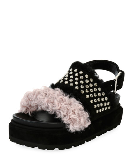 Two-Band Shearling Fur Sandal, Black/Pink