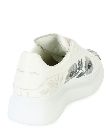 Floral-Embroidered Leather Low-Top Sneaker, White