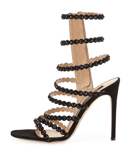 Studded Suede Side-Zip Sandal, Black