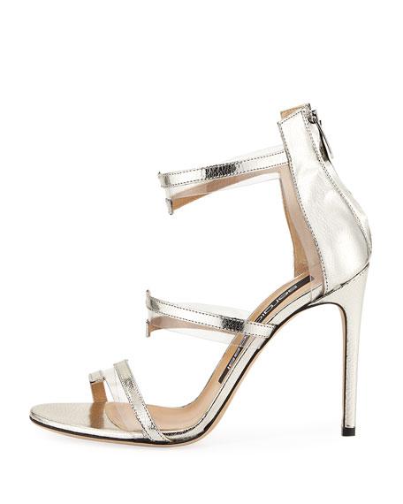 Metallic Leather & PVC Sandal, Gray