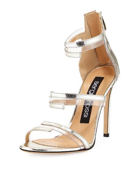 Sandal Leatheramp; Metallic Pvc Leatheramp; Gray Metallic c5AjR34Lq