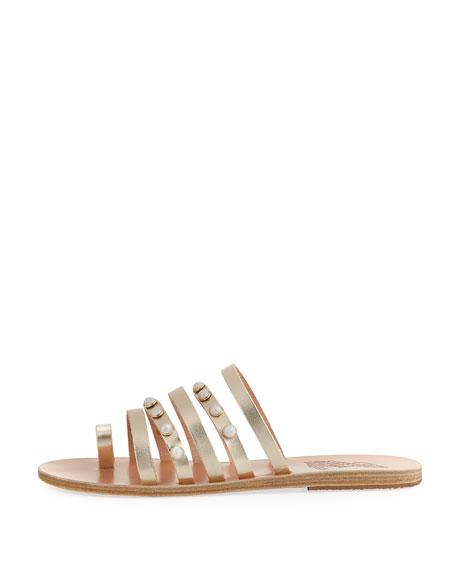 Niki Pearly Studded Multi-Strap Flat Sandal, Silver