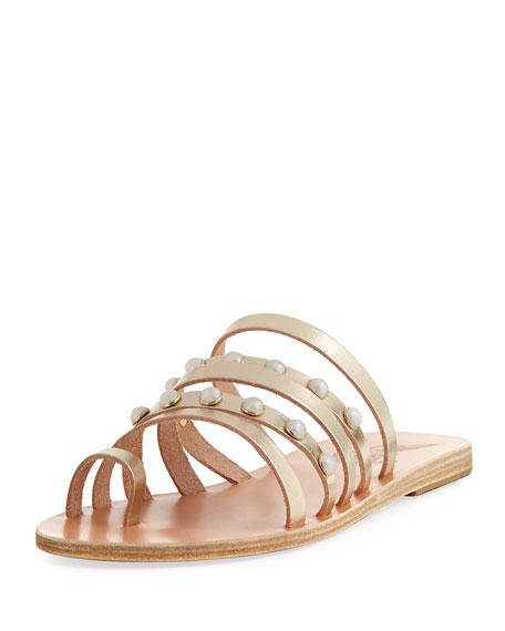 Ancient Greek Sandals Niki Pearly Studded Multi-Strap Flat