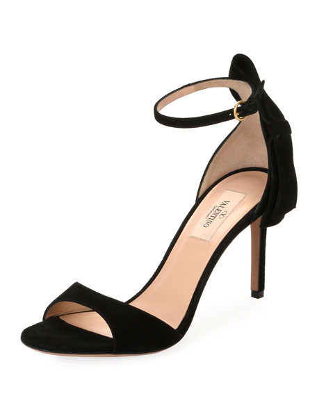Suede Bow-Heel Sandal, Black
