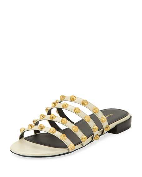 Studded Leather Slide Flat Sandal