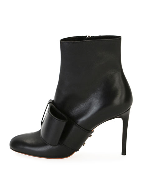 Bow-Trim Leather Ankle Boot, Black