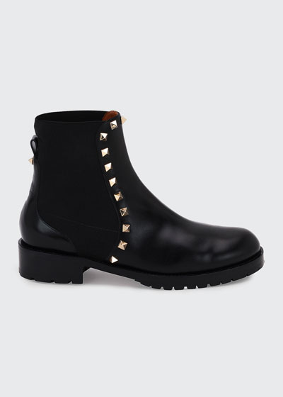 Rockstud Leather Boot  Black