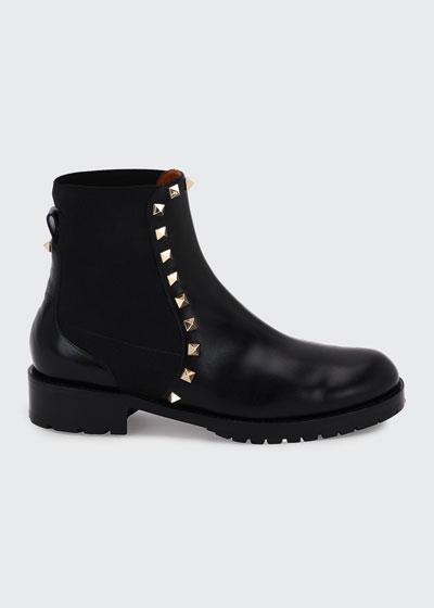 Rockstud Leather Boot, Black