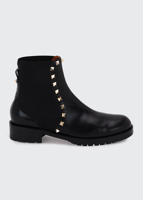 Rockstud Leather Boot, Black