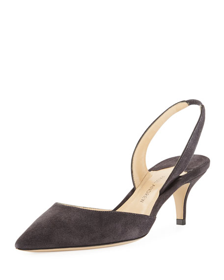 Paul Andrew Rhea 55mm Suede Slingback Pump, Gray