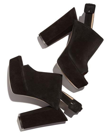 Senato Suede Slingback Platform Sandals, Black