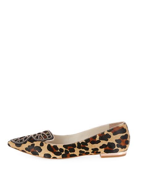 Bibi Butterfly Calf-Hair Flat, Leopard