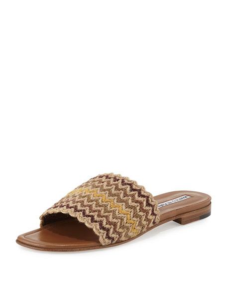 Arcara Woven Flat Slide Sandal