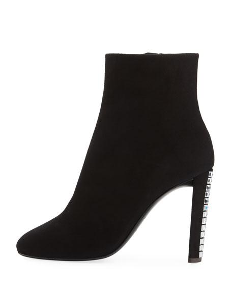 Suede Crystal-Heel Boot