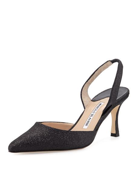 Manolo Blahnik Carolyne Glitter Mid-Heel Halter Pump, Black