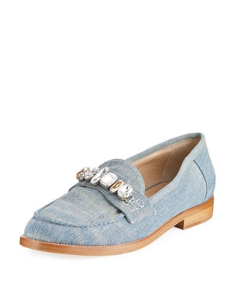 Brother Vellies Jewel-Embellished Denim Loafer, Blue