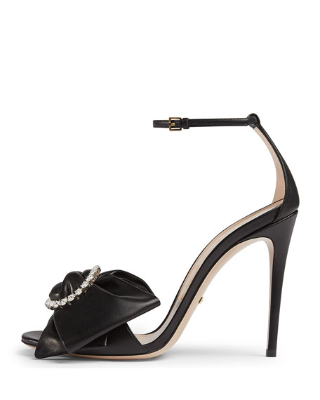 Ilse Pleated Leather Bow Sandals, Black