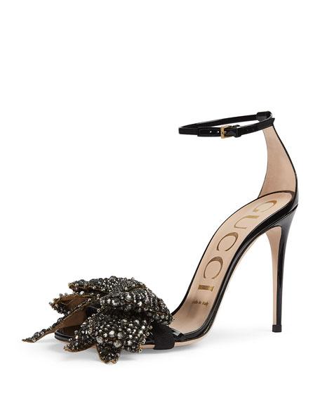 Gucci Ilse Bow-Embellished Leather Sandal, Black