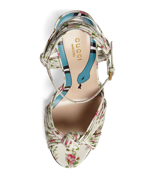 Allie Floral-Print Leather Sandals, White