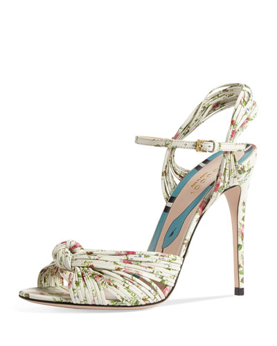 Allie Floral-Print Leather Sandal, White