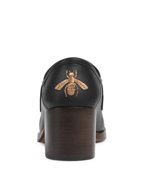 Vegas Block-Heel Leather Moccasin Pump